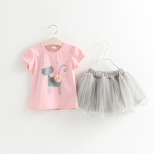 New 2-6Years Toddler Girls Shirt Skirt Suits Summer Cat Tee TUTU Dress Ball Gowns Girls Princess Kitty Clothes Cute Pullover