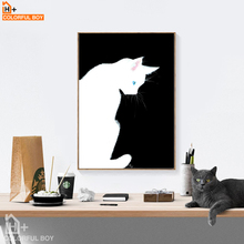 COLORFULBOY Blue Eye White Cat Modern Wall Art Canvas Print Poster Home Decor Canvas painting Wall Pictures For Living Room(China)
