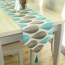 DUNXDECO Table Runner Linen Cotton Leaf Jacquard Long Table Cover Fabric Modern Nordic Style Home Decoration