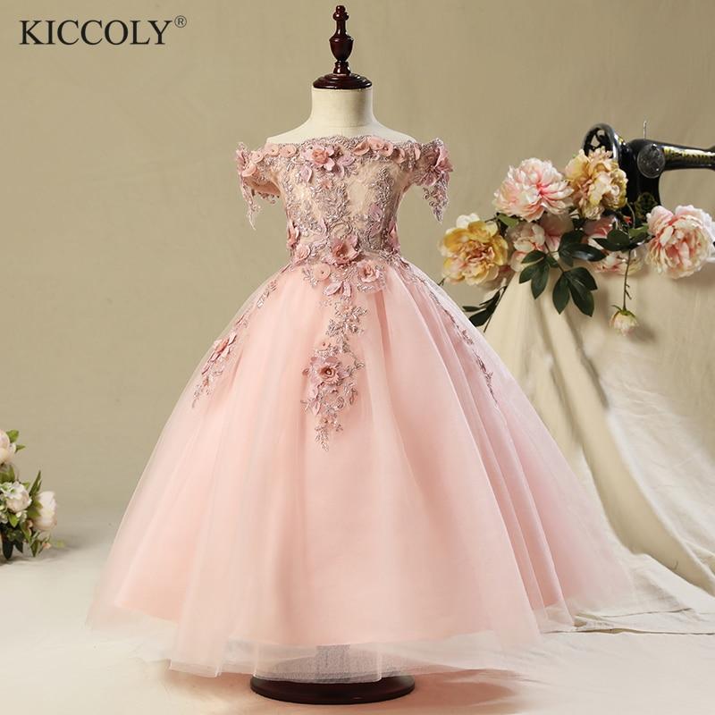 2017 Shoulderless first communion dresses for girls Vestido Daminha Casamento Luxury Ball Gown Pink Organza Flower Girl Dresses<br>