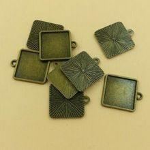 Cabochon 15*15mm Square Setting Base Blank Pendant Trays Smiling Girl Zinc Alloy Diy 10PCS/bag (T099) 2015 New Free Shipping(China)
