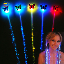 2pcs/lot Colorful Light LED Hair Braid Clip Hairpin LED Butterfly Flash Light Birthday neon Party Supplies For Kid Adult(China)