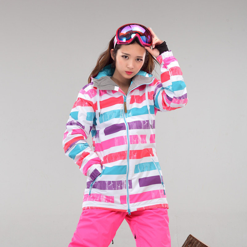 Snow gsou ski suit South Korean style female rainbow section of the new wind proof and waterproof warm ski clothes<br><br>Aliexpress