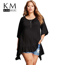 Kissmilk Plus Size Asymmetrical Hem Lotus Leaf Loose Women Basic Tops Solid Color Mid Sleeve T Shirt O Neck Large Size T Shirt