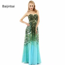 Baijinbai Sexy Leopard Natural Vestidos De Noche Largos Floor-Length Prom Dresses Sweetheart Backless Casual Prom Dress Hot Sale(China)