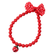 1Pcs New Arrival Fashion Dog Collar Pet Necklace with Strawberry Bell Butterfly Knot PTSP(China)