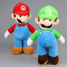 "EMS 30 pcs/Lot 14"" 35 CM Super Mario Bros. Stand Mario & Luigi Plush Toys Stufffed Soft Dolls(China)"