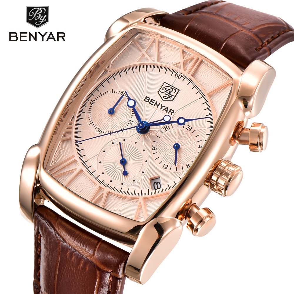 BENYAR Classic Rectangle Case Fashion Sport Chronograph Mens Watches Genuine Leather Strap Luxury Quartz Watch Men montre homme<br>