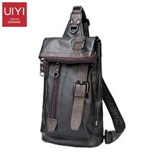 UIYI Vintage Men's Messenger Bag Belt Decoration Leather Tote Shoulder Bag Men Chest pack Knapsack Sacoche Homme(China)