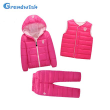 Grandwish Winter Girls Down Sets Children Autumn Jackets Coats+Vests+Pants 3 Pcs Boys Suits Kids Cartoon Warm Sets 18M-8T, SC628