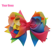 Your Bows 5inch Rainbow Boutique Hair Bows Hight Quality Hair Clips Ribbon Bows For Girls Hair Accessories(China)