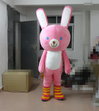 Hot sale 2014 Character Adult lovely Happy pink rabbit Mascot Costume fancy dress Halloween party costume