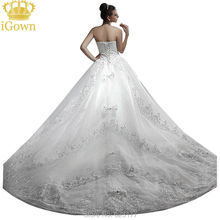 High Quality 100cm Trailing Luxury Crystal V-neck Wedding Dresses With long train Customize Plus size Empire Wedding Dress 2017(China)