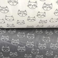 100% cotton twill cloth cartoon cute white gray cat  fabric for DIY kids crib bedding home decor clothes handwork tissue