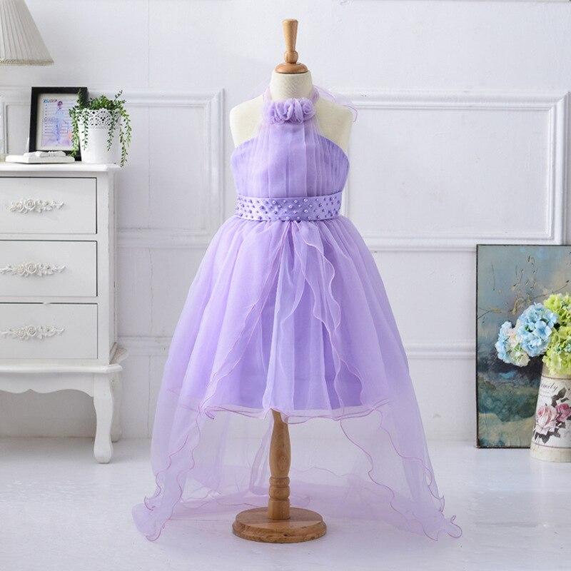 Flower Girls Dress 2017 New Hanging Neck Girl  Wedding Dress Children Clothing European Style Fishtail Girl Party Dress 2-13 Age<br>