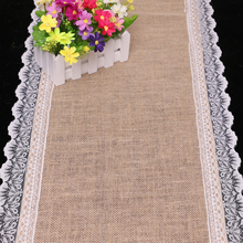 High Quality 1PC Burlap Hessian White Lace Band Table Runner Wedding Christmas Home Decoration Hotle Tablecloths Table Lines