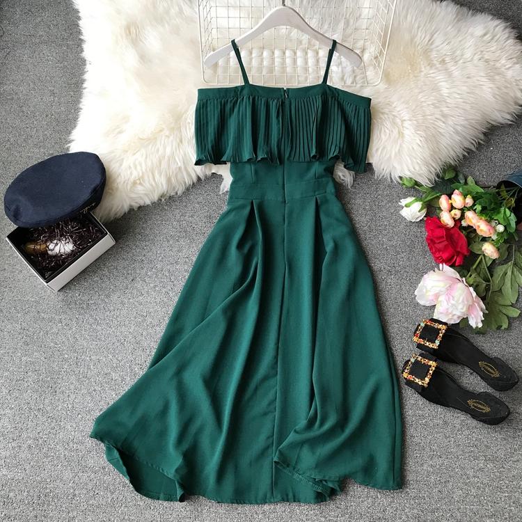2019 Spring Women Chiffon Pleated Braces Sling Spaghetti Strap Goffer Long Dress Ladies Ruffles Empire Drapped Swing Slip Dress 154