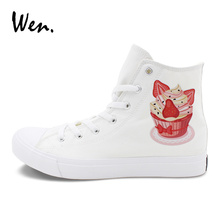 Wen White Women's Canvas Shoes Strawberry Cream Cupcakes Shoes Original Design Men's Skateboarding Sports Sneakers High Top(China)