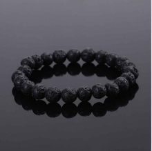 New Fashion Unisex black Beads  Beaded Rock Elastic Bracelet Bangle GIFT Mens Retro Lava Stone  Free Shipping