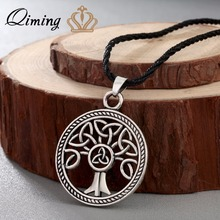 QIMING New Brand Jewelry Knot Family Tree of Life Round Charm Pendant Silver Necklace For Women Girls Gift Accessories(Hong Kong,China)