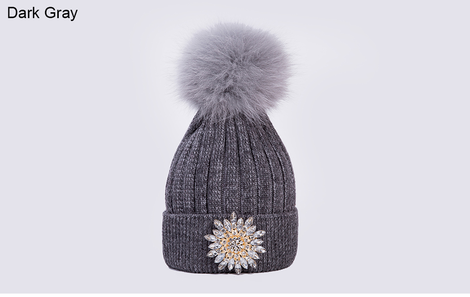 Ralferty Women's Real Fox Pompom Hat Knitted Rabbit Skullies Winter Hats For Women Big Flower Crystal Beanies Black Cap bonnet 18