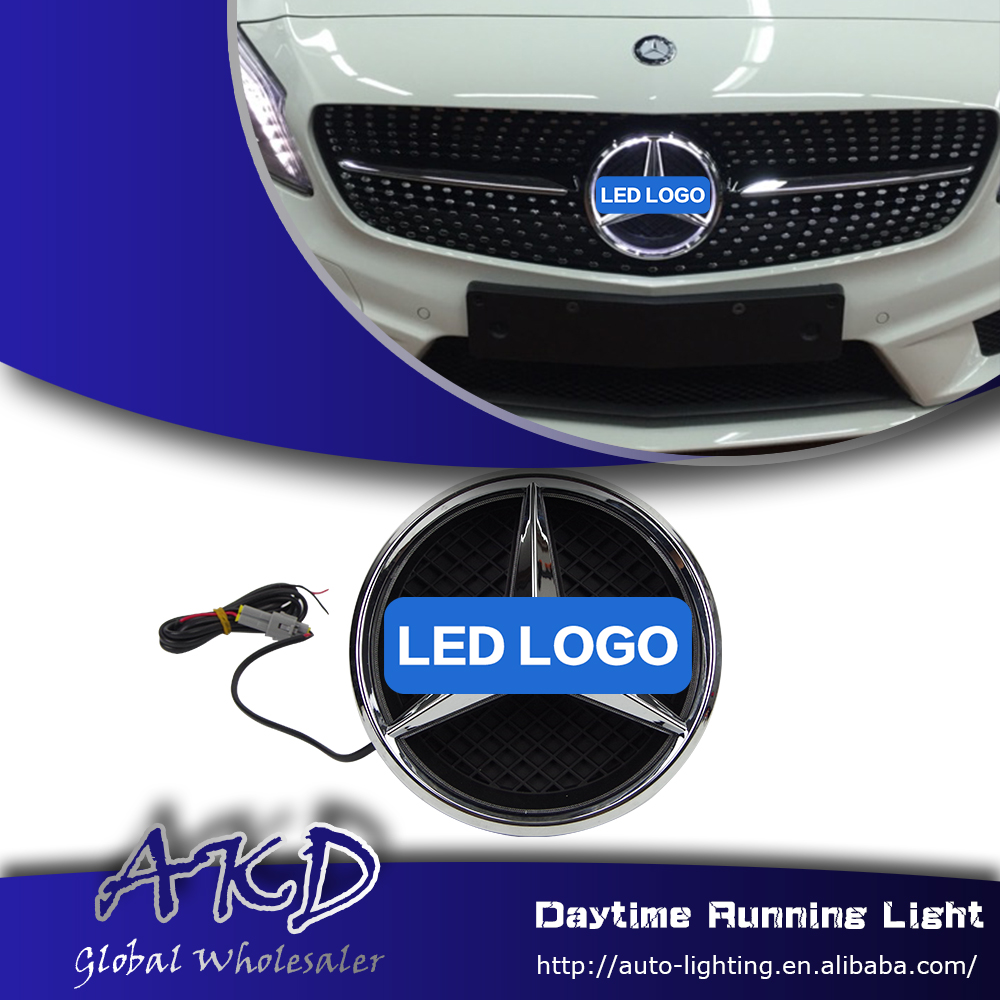 Car Styling LED Emblem for Mercedes Benz W205 C180 C200 C260 LED Star Light DRL FRONT GRILLE LED LOGO Daytime Running light(China (Mainland))