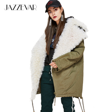 JAZZEVAR 2017 New FashionWomen's real lamb fur large turn-down collar Coat Military Parkas casual Outwear oversize Winter Jacket(China)