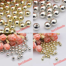 wholesale Silver Gold Tone plating material acrylic Resin Smooth Round Ball Spacer Chunky  beads DIY accessories handmade beaded