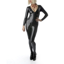 Buy V-Neck Latex Catsuit Front Zipped Rubber Latex Girls Jumpsuit Overall