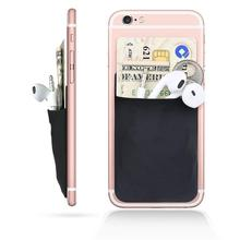 Elastic Lycra Cell Phone Wallet Case Credit ID Card Holder Pocket Stick 3M Adhesive Cloth and Leather Flexible Pouch Card Case