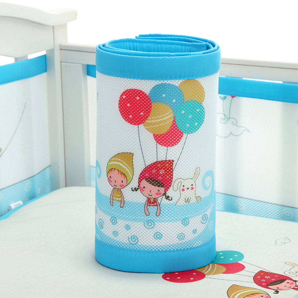 Cartoon Baby Breathable Mesh Crib Liner Four Seasons 3D Breathable Baby Anti-Collision Bedding Kit Detachable
