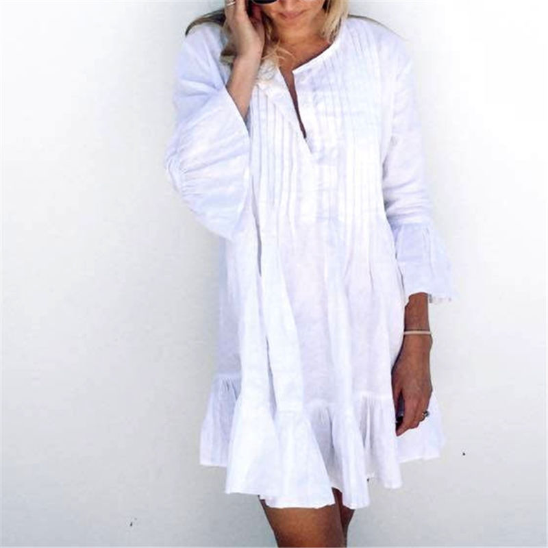5b770c36e2 Women Swimsuit Cover Ups Mandarin Sleeve Kaftan Beach Tunic Dress Robe De  Plage Solid White Cotton Pareo Beach Cover Up  Q606