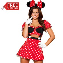 Rojo minnie mouse trajes adultos disfraces de halloween para las mujeres del partido de cosplay sexy minnie mouse dress fantasy mujeres al por mayor