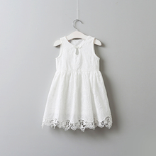 2017 Summer Lace Embroidery White Dresses For Girls Princess, Children Baby Fairy Dress 5 pcs/lot, Wholesale(China)