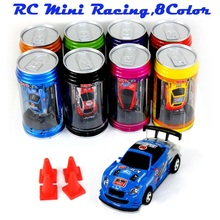 Cans type mini RC car with 4pcs roadblocks,color random,Suitable for the game (49 Hz) Pocket toys