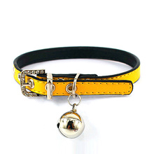 Cat Collar PU Leather Small Dog Collar with Bell Adjustable Collar Handmade Pet Accessories(China)
