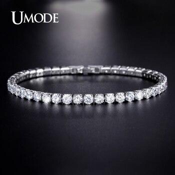 Umode 5 colores circonita tenis pulseras y brazaletes para mujeres regalos de navidad nueva dama de la moda de joyería pulseras mujer ub0097