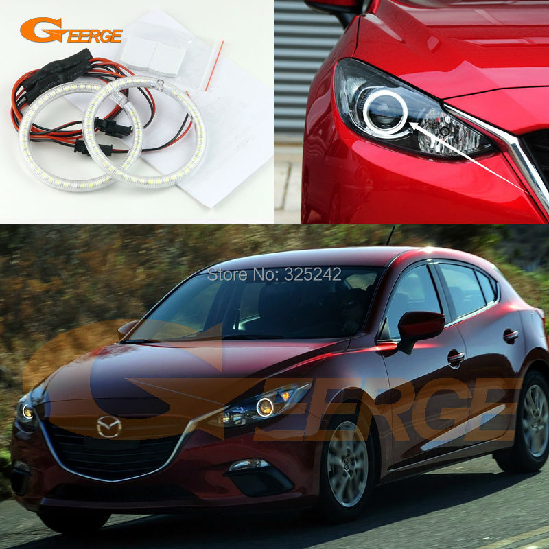 For Mazda 3 Mazda3 Axela 2014 2015 2016 HALOGEN PROJECTOR HEADLIGHT Excellent Ultra bright illumination smd led Angel Eyes kit<br>