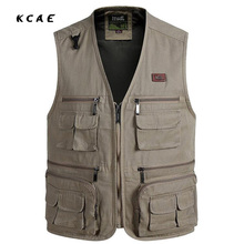 New high quality Fashion Vests For Men Wholesale Men's Multi-pocket Photography Vest Men Casual Reporter Director Military