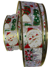 New 100Yards 2'' (50mm)Silver Printed Santa Claus Ribbons With Wire On Both Side Christmas Grosgrain Ribbon Adornos Navidad 2015