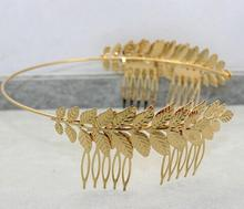 2016 Handmade Cluster Metal Leaves Pearl Headbands For Wedding Bridal Hair Accessories Celebrity Design