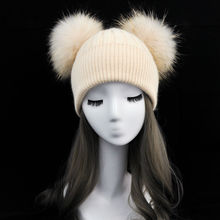 Women Winter Fashion Fur Pompom Hat for Girls Crochet Beanie Hats for Adults Knitted Wool Double Two Pompon Fur Hat