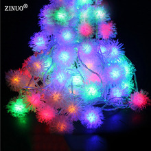 ZINUO 10M 100pcs Ball LED String Fairy Light Garland Furry Snow Ball Edelweiss Christmas String Lights Outdoor Garden Light 220V