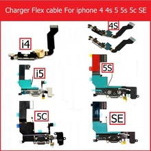 Genuine USB Dock Charger Flex Cable For iPhone 4 4s 5 5s 5C SE Black white headphone audio jack port connector flex cable parts(China)