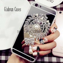 Bling Pearl brooch mirror phone case Back Cover For samsung Note 3 4 5 S6 S7 S8 EDGE For iphone 4 5 SE X 7 8 Plus 6 S 6plus case(China)