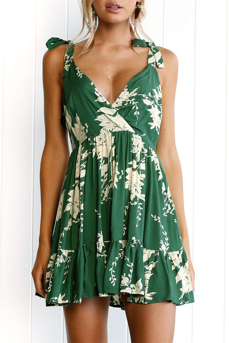 Hirsionsan Short Bohemian Dress 2017 Summer Women Sundress Sexy V-neck Floral Print Boho Dress Backless Green Beach Sundress 7