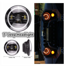 "7"" Round LED Headlight 7 inch LED Projector Headlamp Universal Vehicle H4 H13 Hi/Lo Driving light for Jeep Wrangler CJ TJ JK"