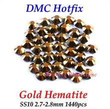 DMC Gold Hematite SS10 2.7-2.8mm Glass Crystals Hotfix Rhinestone Iron-on Rhinestones Shiny DIY Garment Bag With Glue