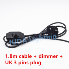 British Standard UK cable wire with dimmer Switch 3 pins plug cable cord set For table lamps floor lamps Lighting accessories