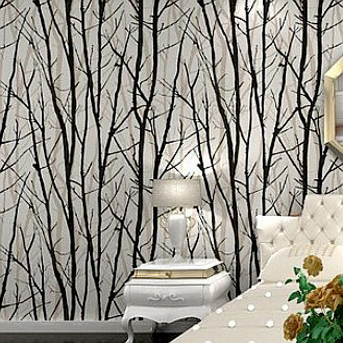 Black White Birch Tree Roll Branches Embossed Wallpaper Dine Room,Hallway,Bath Room Wall Paper Mural Art Deco Wallcovering 10M<br>
